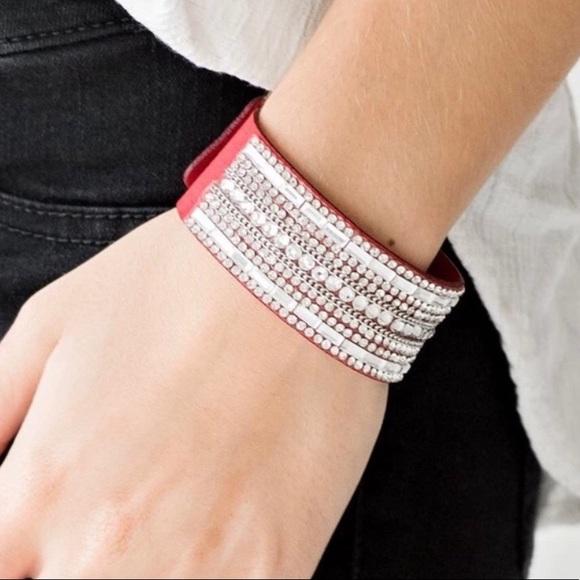 J7 - Red Rhinestone Snap Bracelet